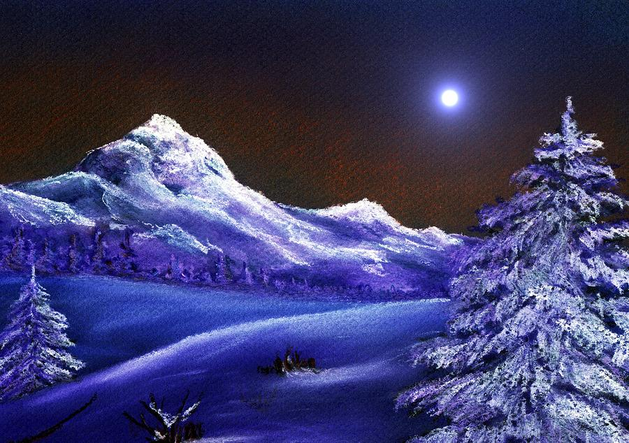 Moon Painting - Cold Night by Anastasiya Malakhova
