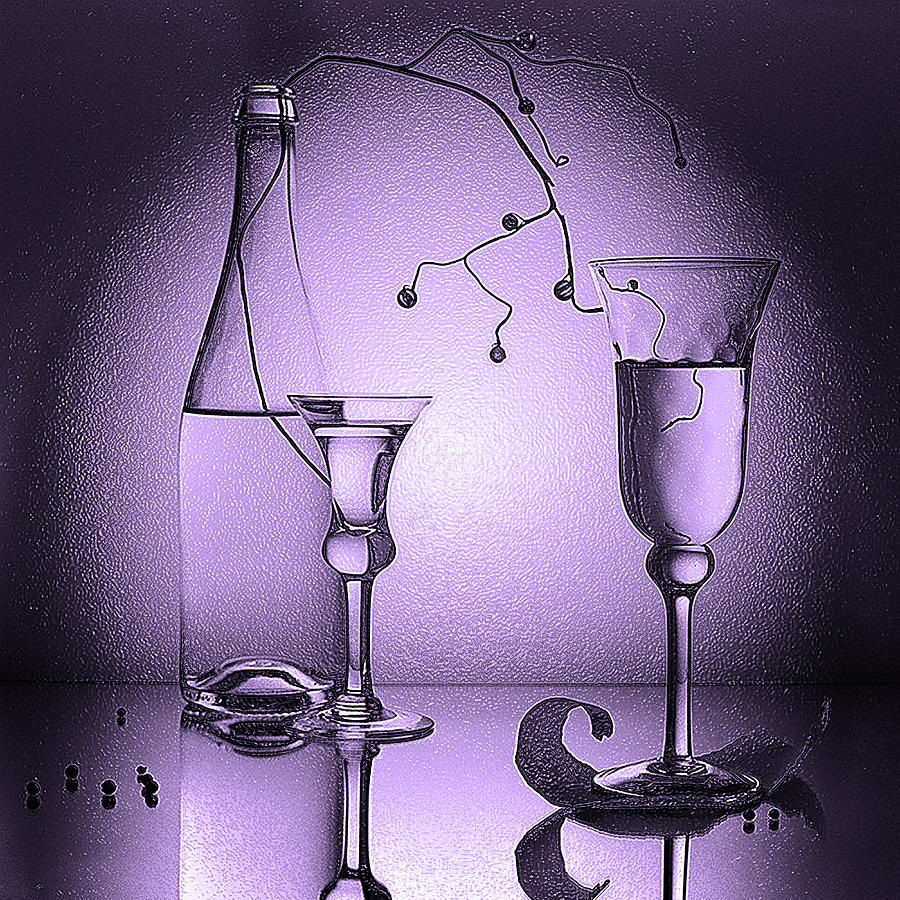 3d Black and White Still Life art Cold Water
