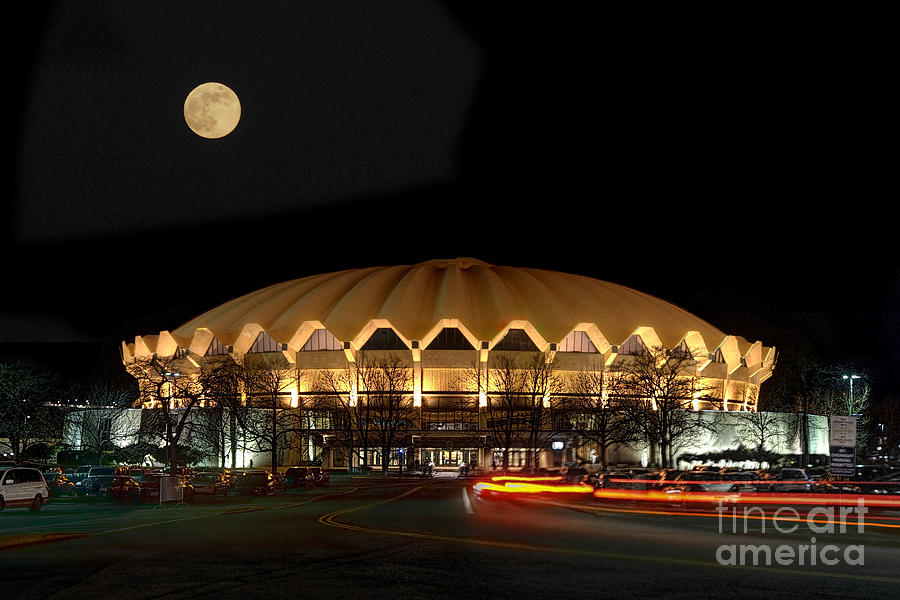 Coliseum Night With Full Moon Photograph