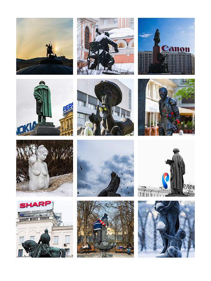Collage - Moscow Monuments - Featured 3 Photograph  - Collage - Moscow Monuments - Featured 3 Fine Art Print