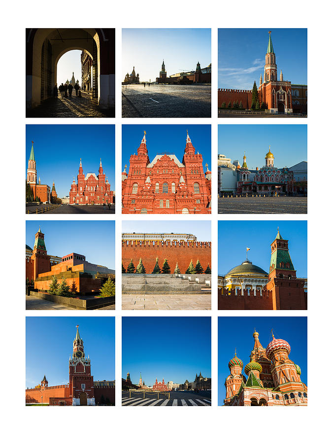 Collage - Red Square In The Morning Photograph  - Collage - Red Square In The Morning Fine Art Print