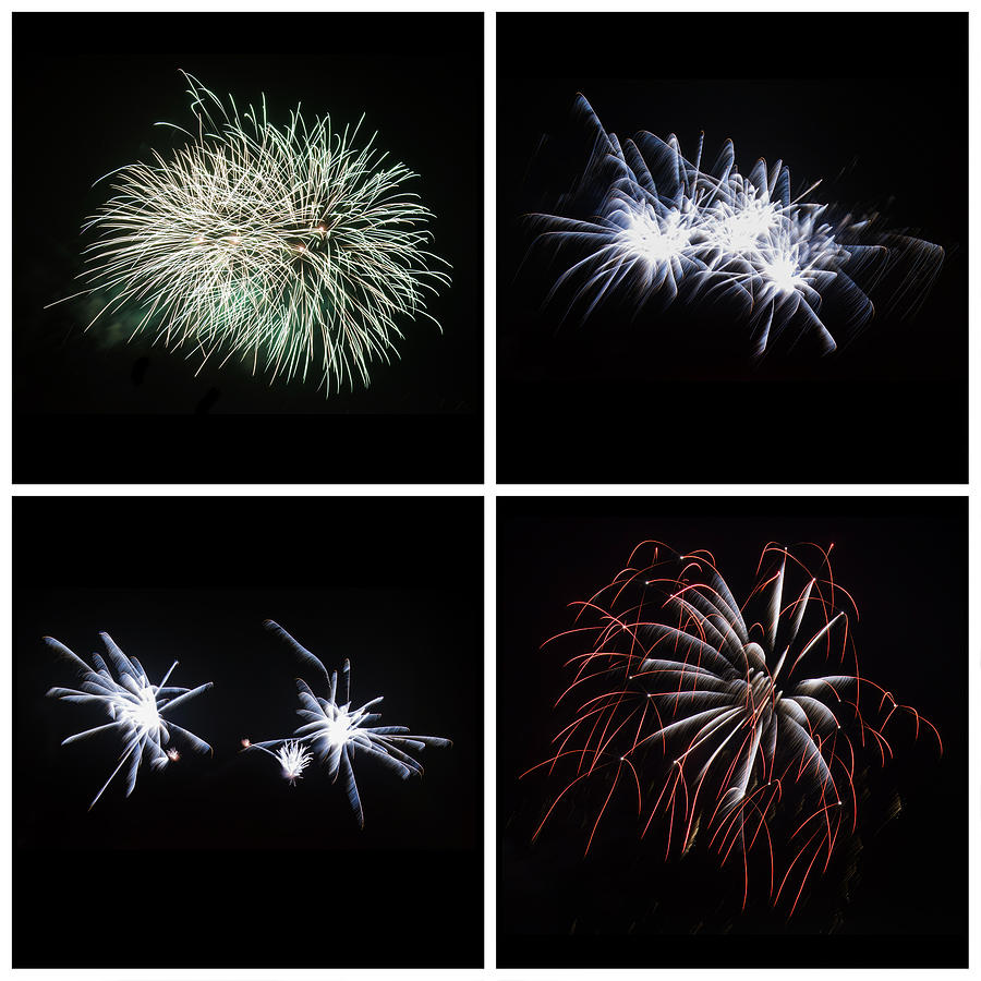Collection Of Bright Colorful Firework Burst Explosions On Black Photograph