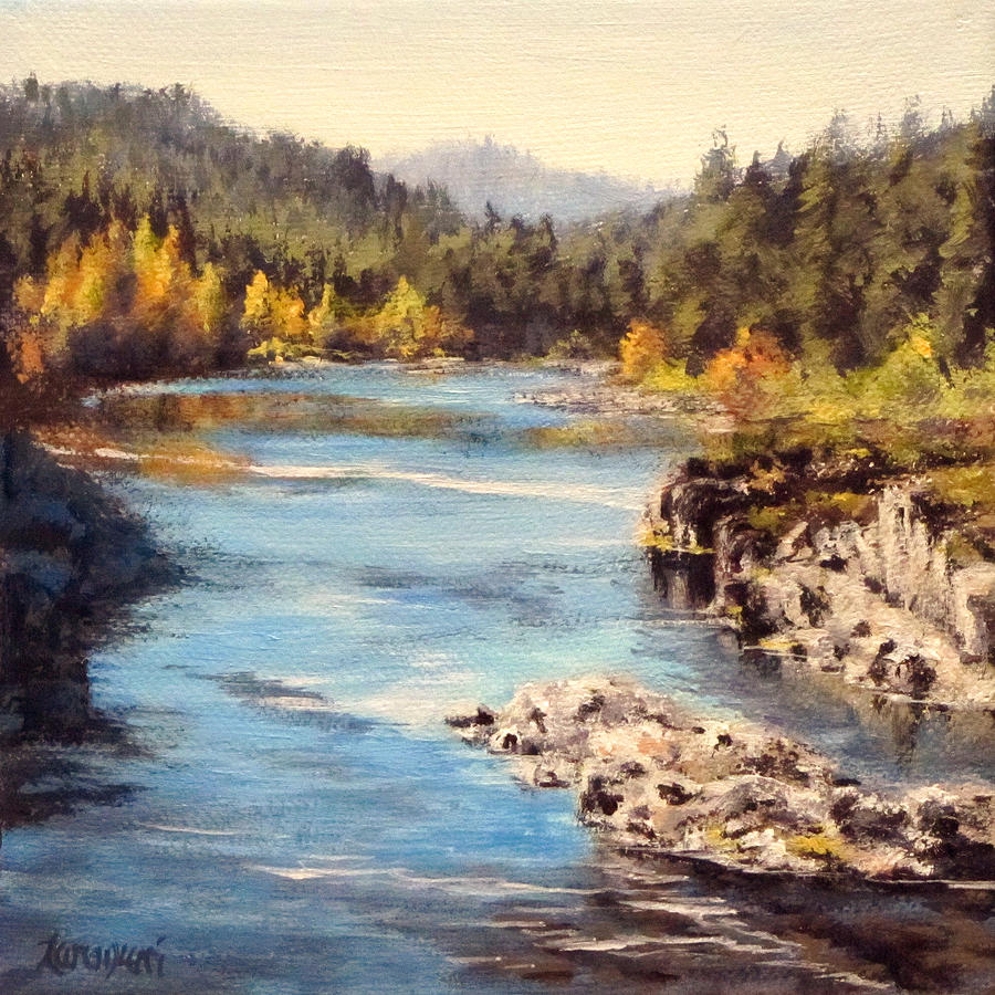Colliding Rivers Fall Painting  - Colliding Rivers Fall Fine Art Print