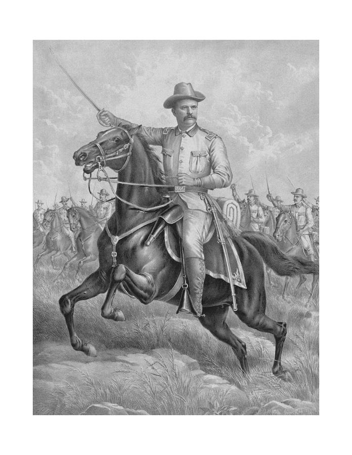 Colonel Roosevelt Leading Troops Drawing  - Colonel Roosevelt Leading Troops Fine Art Print