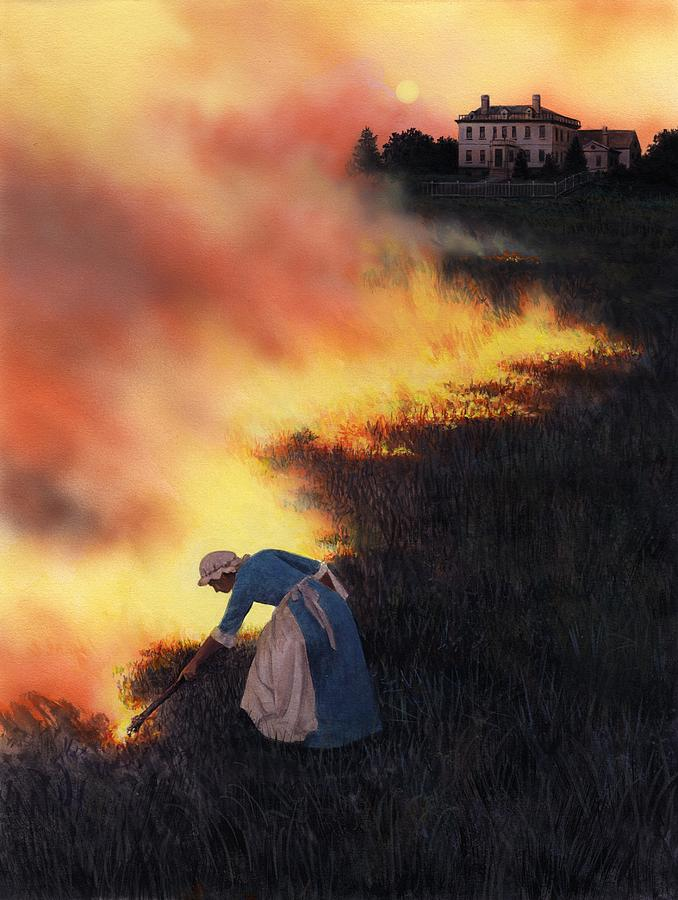 Colonial Woman Burning Fields Painting