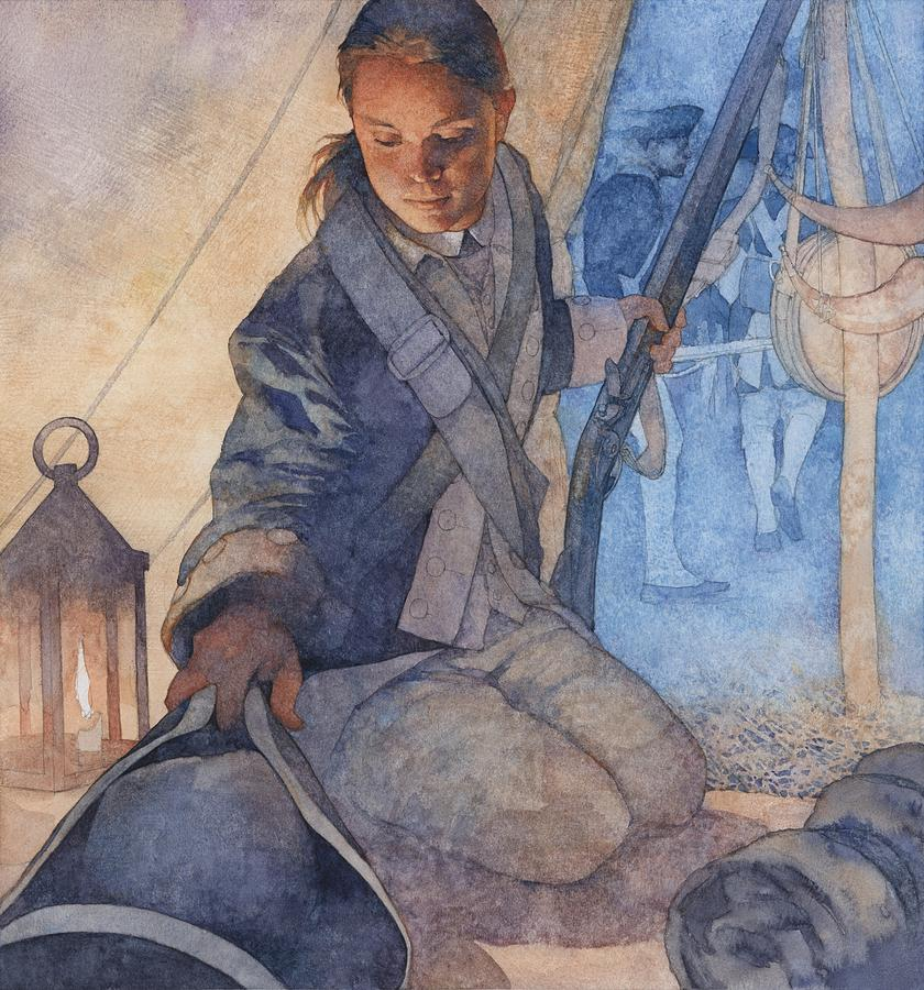 Colonial Woman Soldier Painting  - Colonial Woman Soldier Fine Art Print