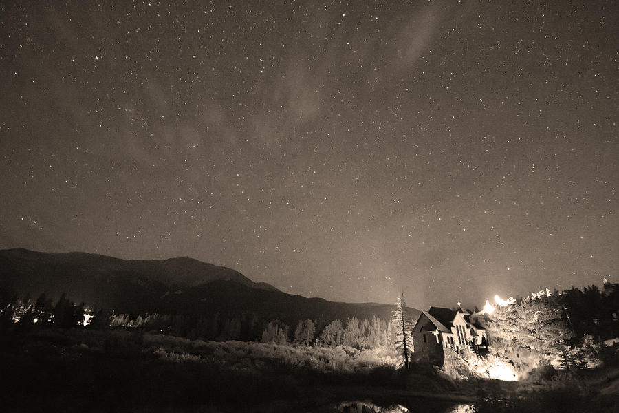 Colorado Chapel On The Rock Dreamy Night Sepia Sky Photograph