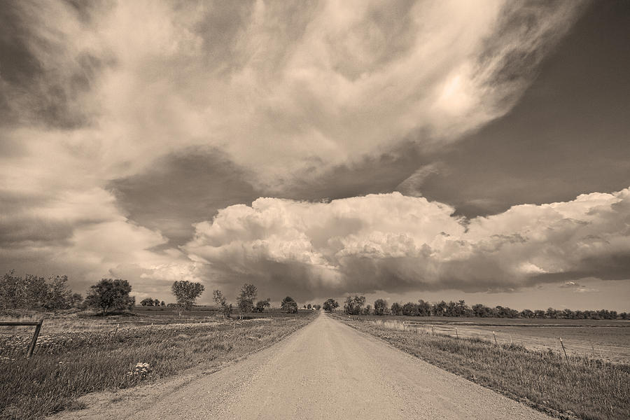 Colorado Country Road Sepia Stormin Skies Photograph