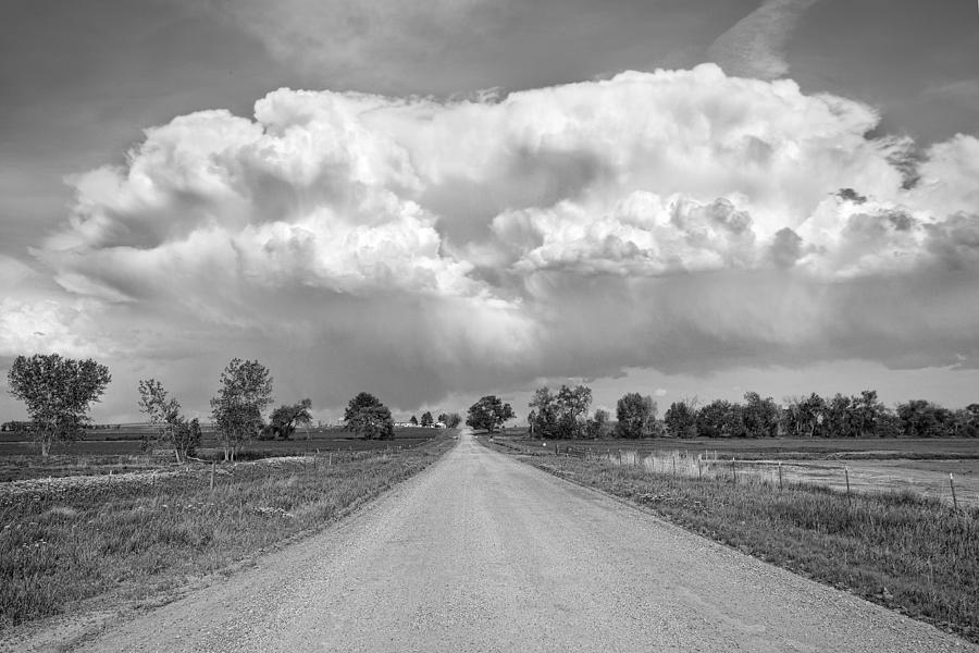 Colorado Country Road Stormin Bw Skies Photograph  - Colorado Country Road Stormin Bw Skies Fine Art Print