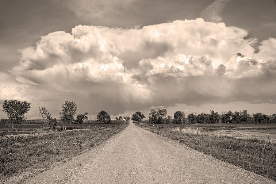 Colorado Country Road Stormin Sepia  Skies Photograph