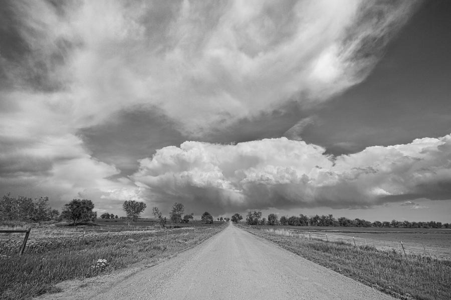 Colorado Country Road Stormin Skies Bw Photograph