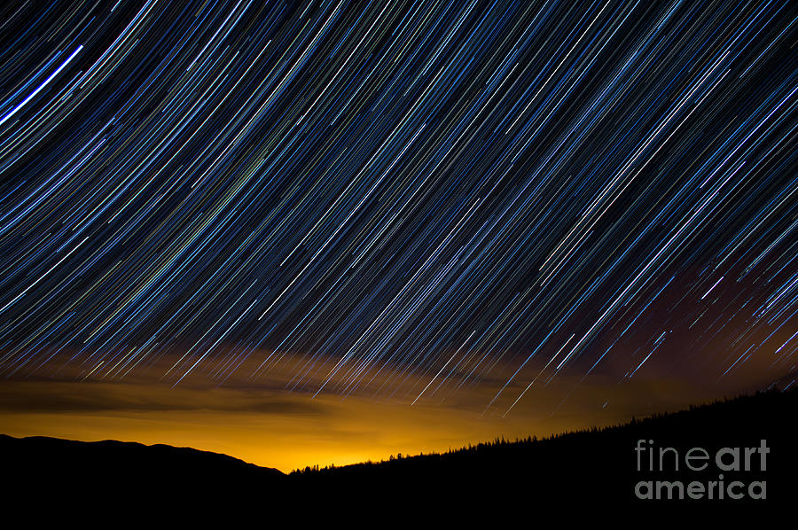 Surprise Trailhead Photograph - Colorado Mountain Startrails by Benjamin Reed