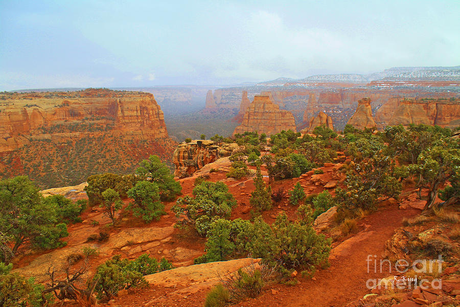 Colorado Natl Monument Snow Coming Down The Canyon Photograph  - Colorado Natl Monument Snow Coming Down The Canyon Fine Art Print