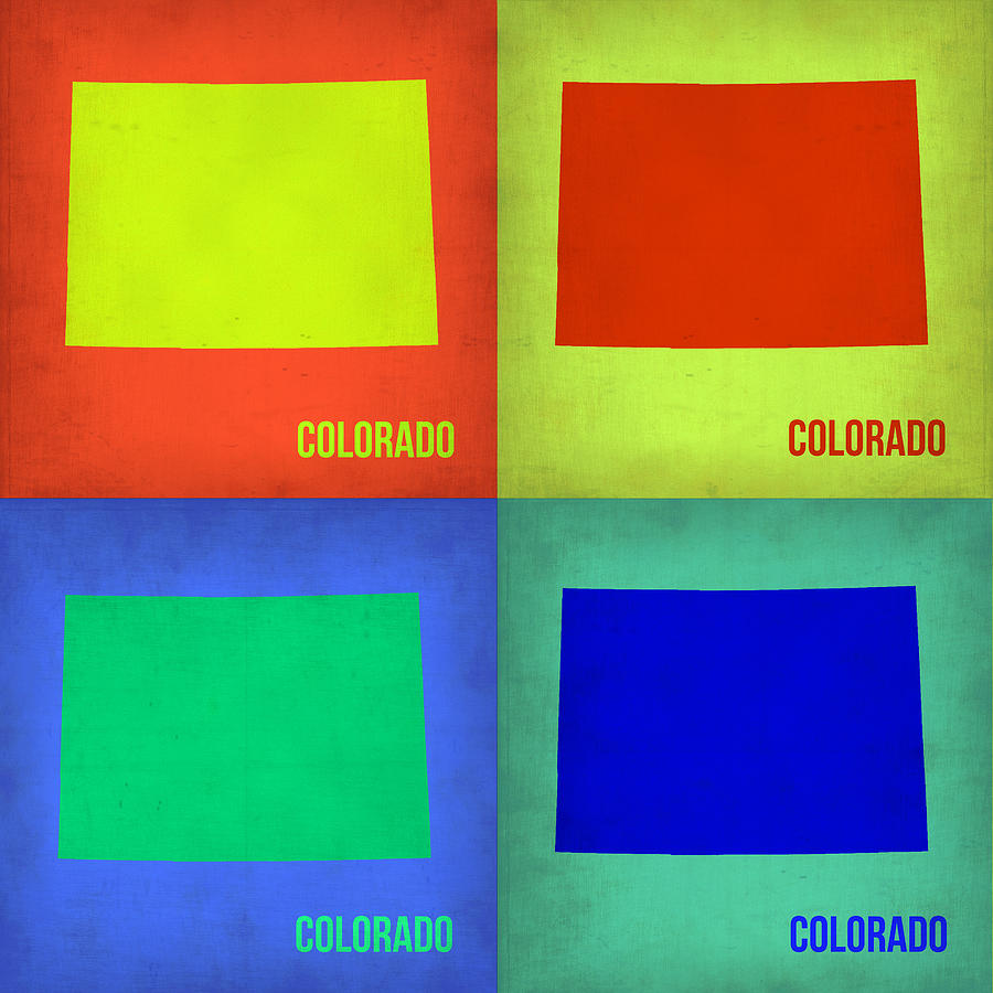 Colorado Pop Art Map 2 Painting  - Colorado Pop Art Map 2 Fine Art Print