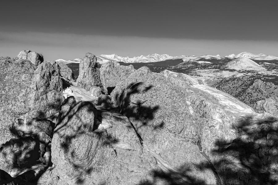Colorado Rocky Mountain Scenic View In Black And White Photograph