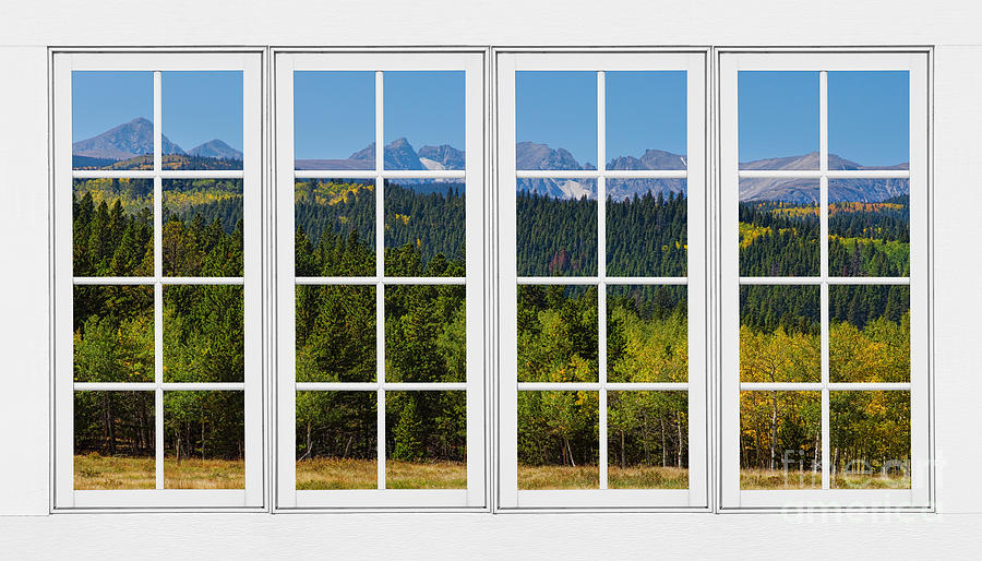 Colorado Rocky Mountains White Window Frame View Photograph