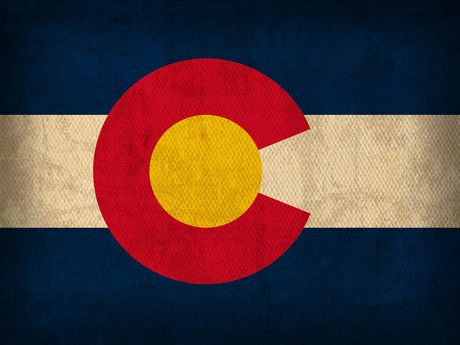 Colorado State Flag Art On Worn Canvas Mixed Media