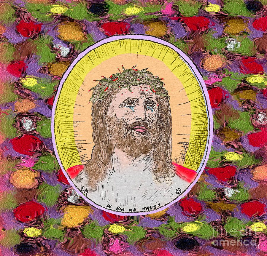 Jesus With Crown Of Thorns Painting - Colored Background Jesus by Donna Munro