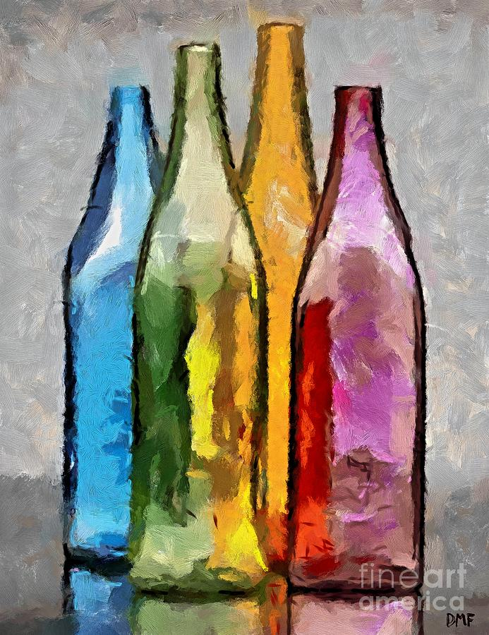 Colored glass bottles painting by dragica micki fortuna for Where to buy colored wine bottles