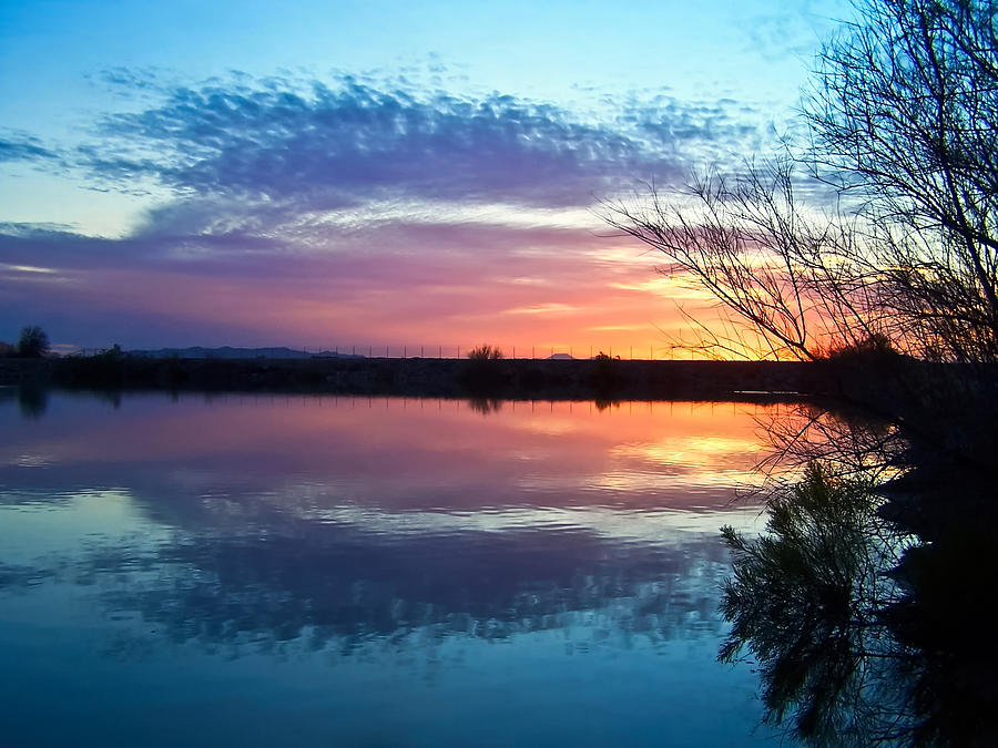 Colorful Arizona Lake Sunset Photograph  - Colorful Arizona Lake Sunset Fine Art Print