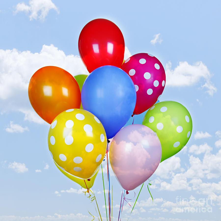 Balloons Photograph - Colorful Balloons With Blue Sky by Elena Elisseeva