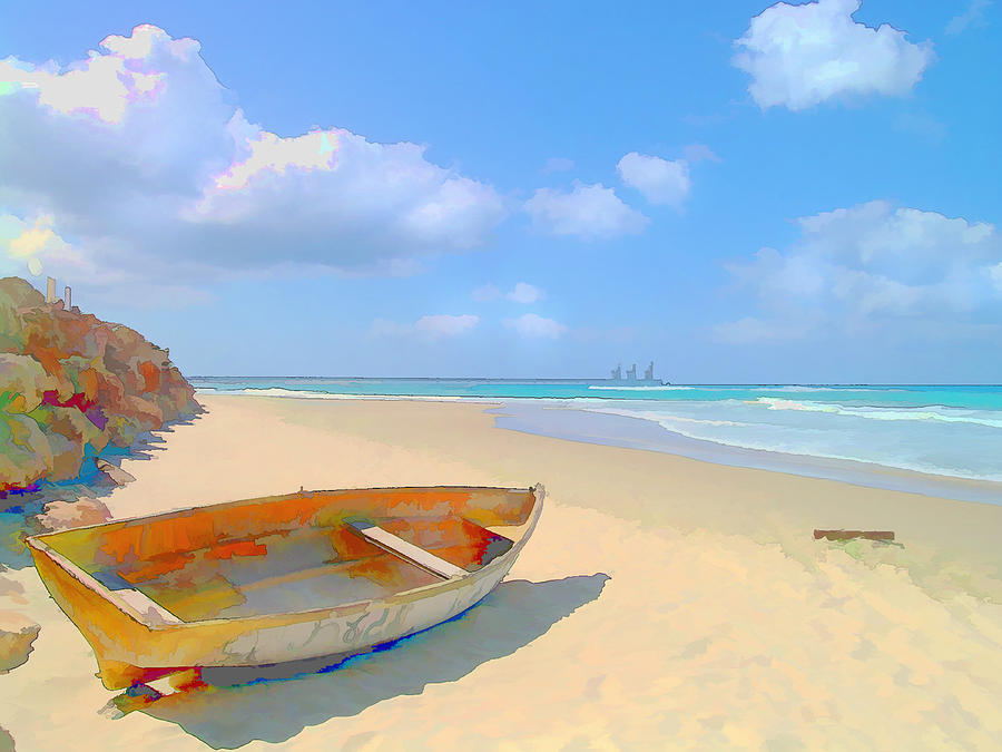 Colorful Beached Caribbean Boat is a painting by Elaine Plesser which ...