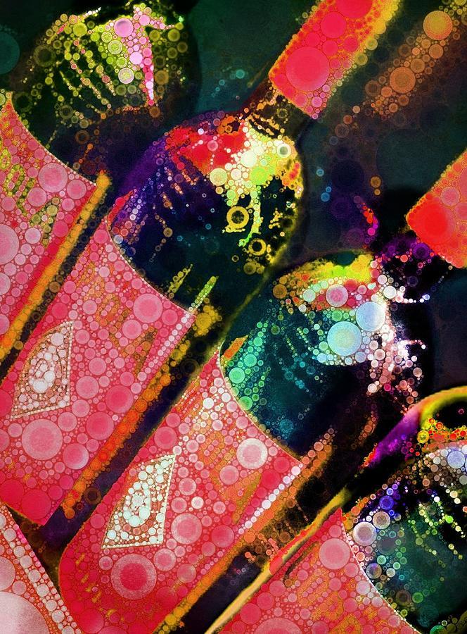 Wine Digital Art - Colorful Bottles by Cindy Edwards