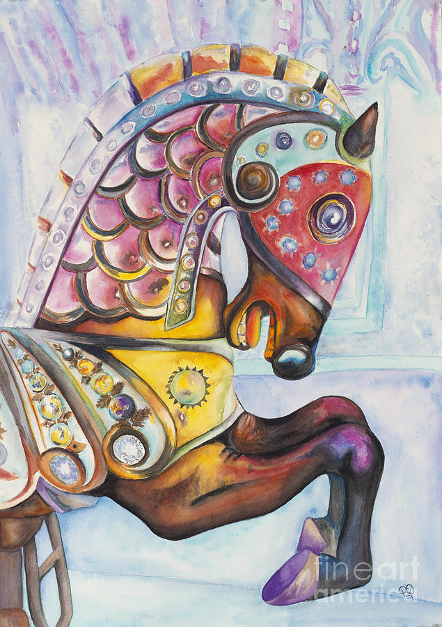 Colorful Carousel Horse  Painting