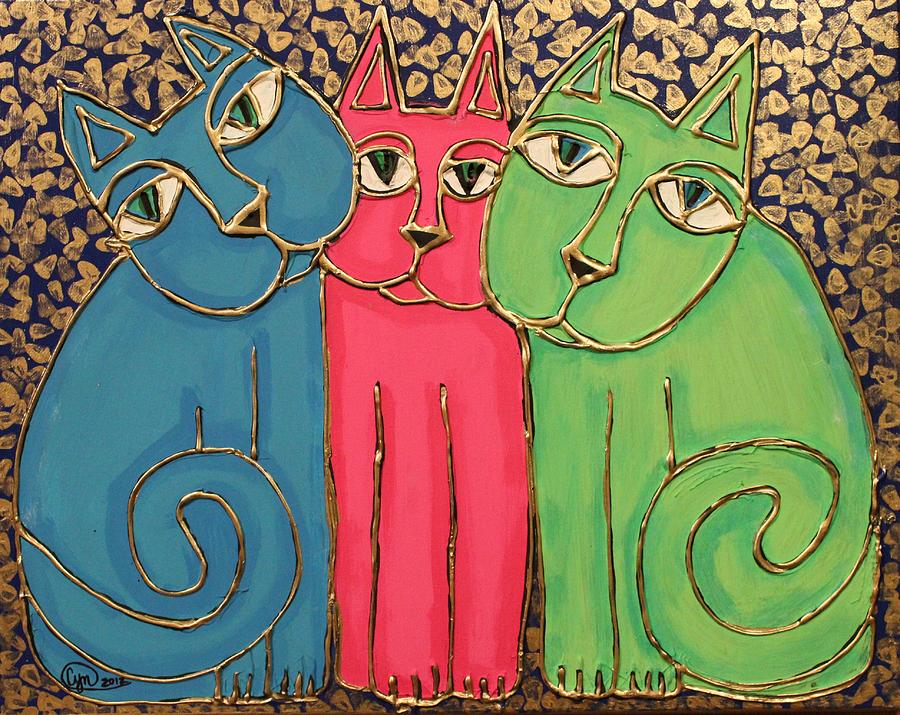 Colorful Cat Trio Painting  - Colorful Cat Trio Fine Art Print