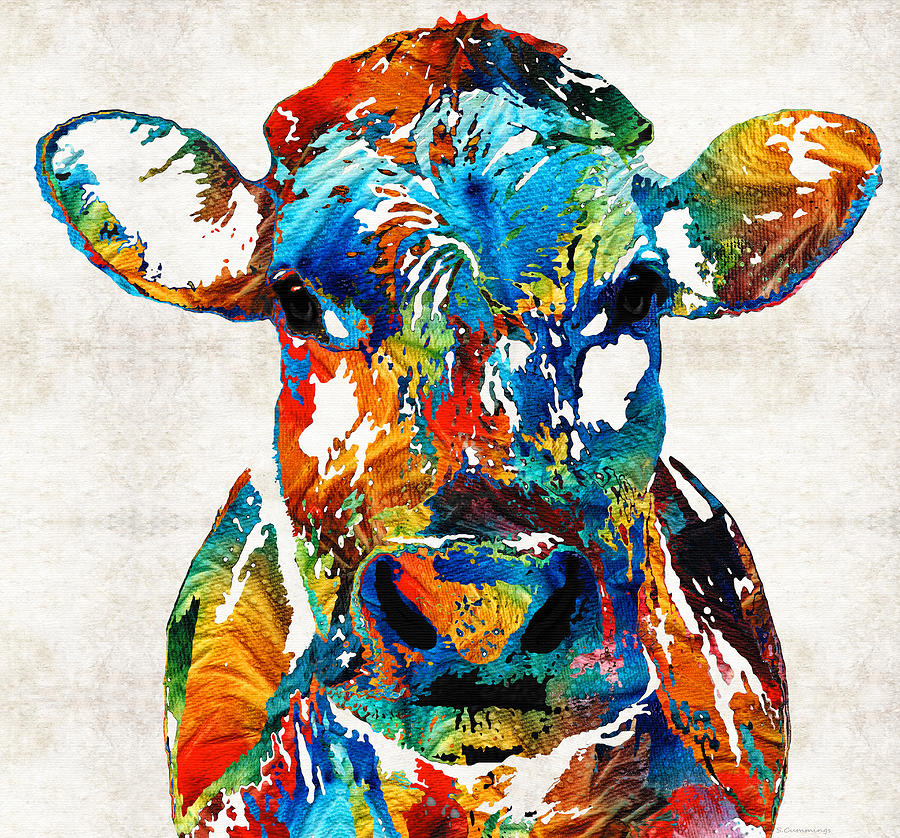 colorful cow art mootown by sharon cummings painting by sharon cummings. Black Bedroom Furniture Sets. Home Design Ideas