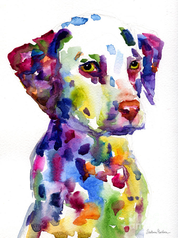 Colorful Dalmatian Puppy Dog Portrait Art Painting  - Colorful Dalmatian Puppy Dog Portrait Art Fine Art Print