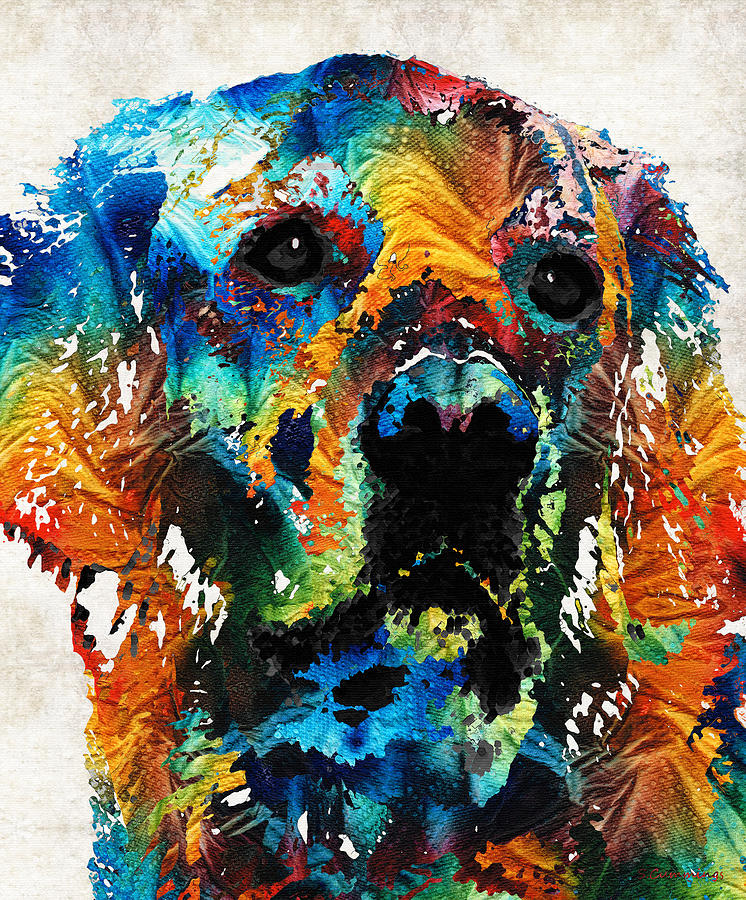 colorful dog art heart and soul by sharon cummings