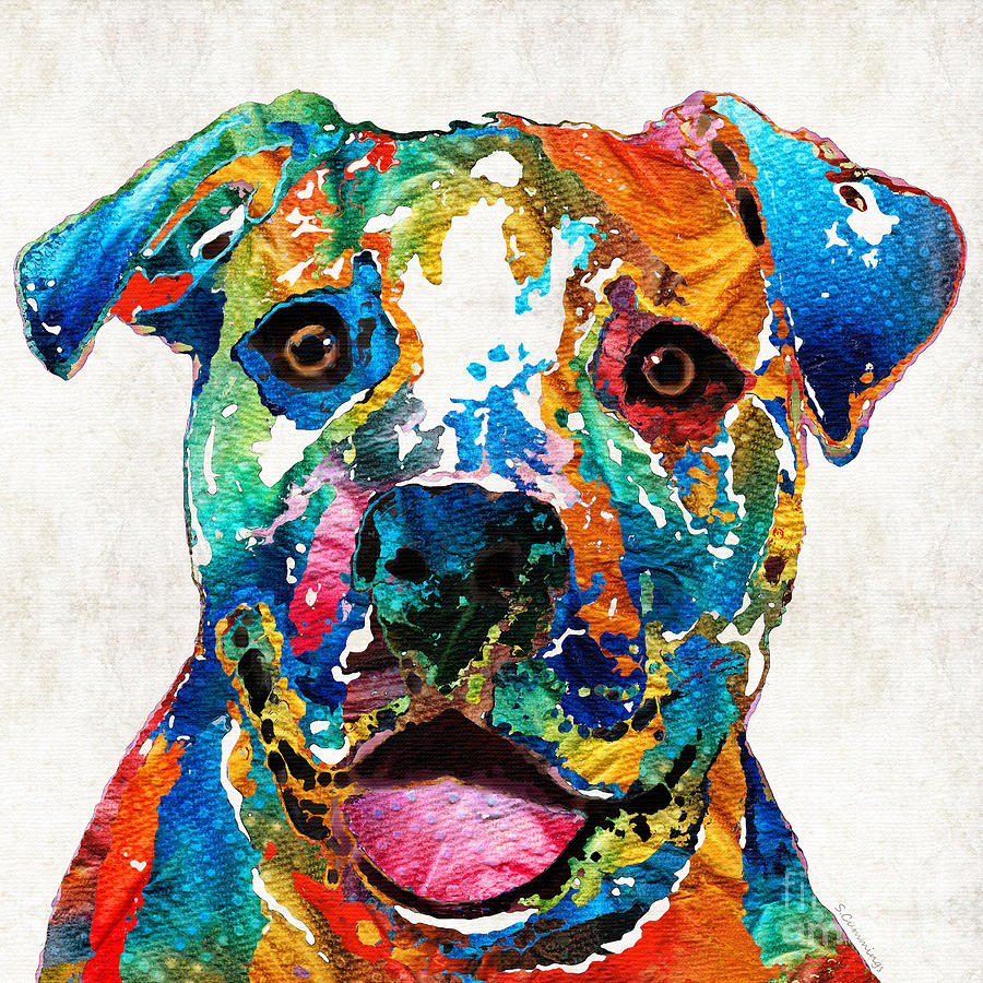 Colorful Dog Pit Bull Art Happy By Sharon Cummings