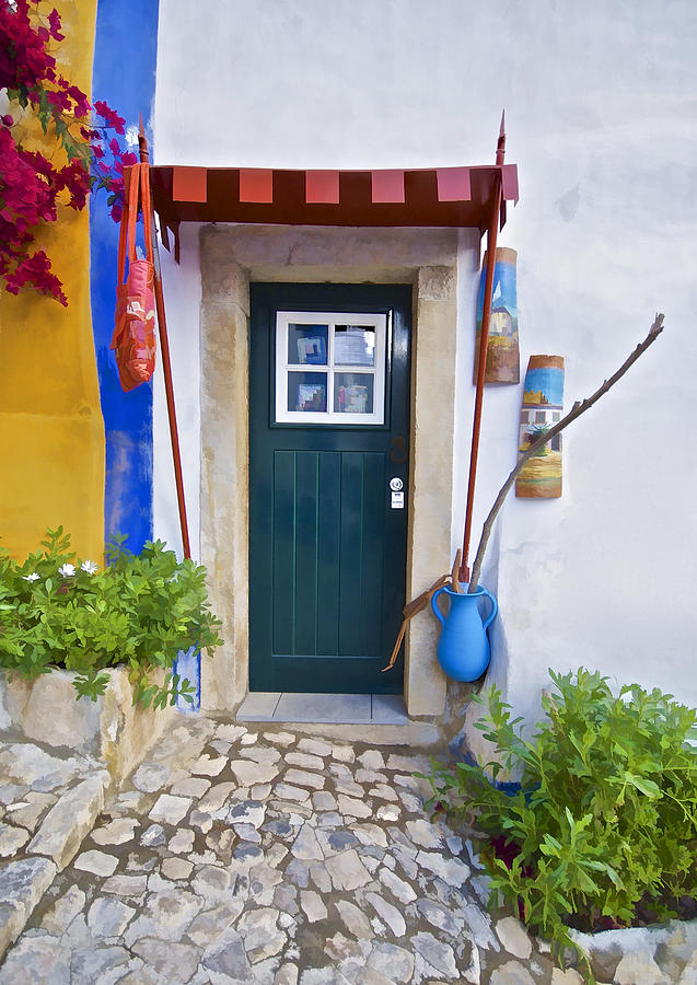 Colorful Door Of Obidos Photograph  - Colorful Door Of Obidos Fine Art Print