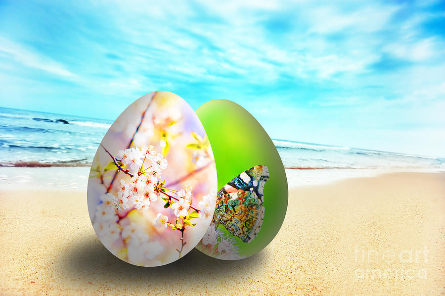 Colorful Easter Eggs On Sunny Beach Photograph