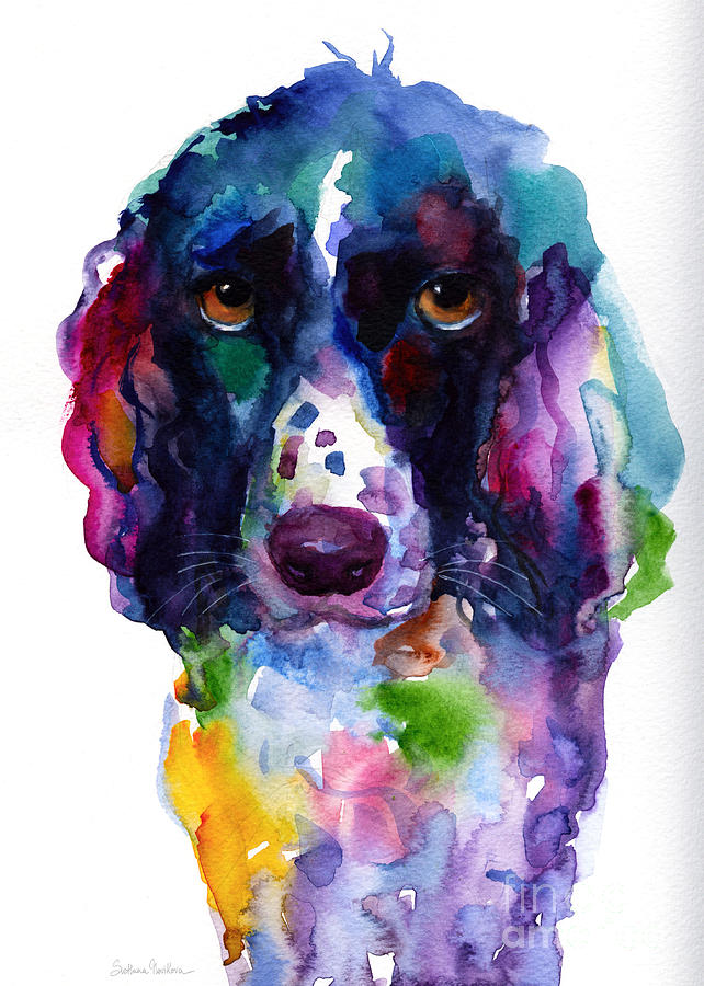 Colorful English Setter Spaniel Dog Portrait Art Painting  - Colorful English Setter Spaniel Dog Portrait Art Fine Art Print