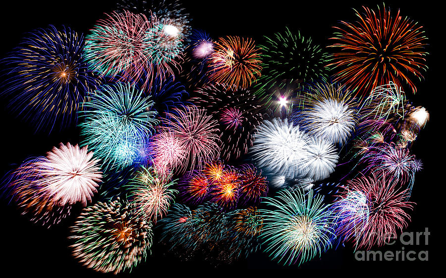 Colorful Fireworks Of Various Colors In Night Sky Photograph