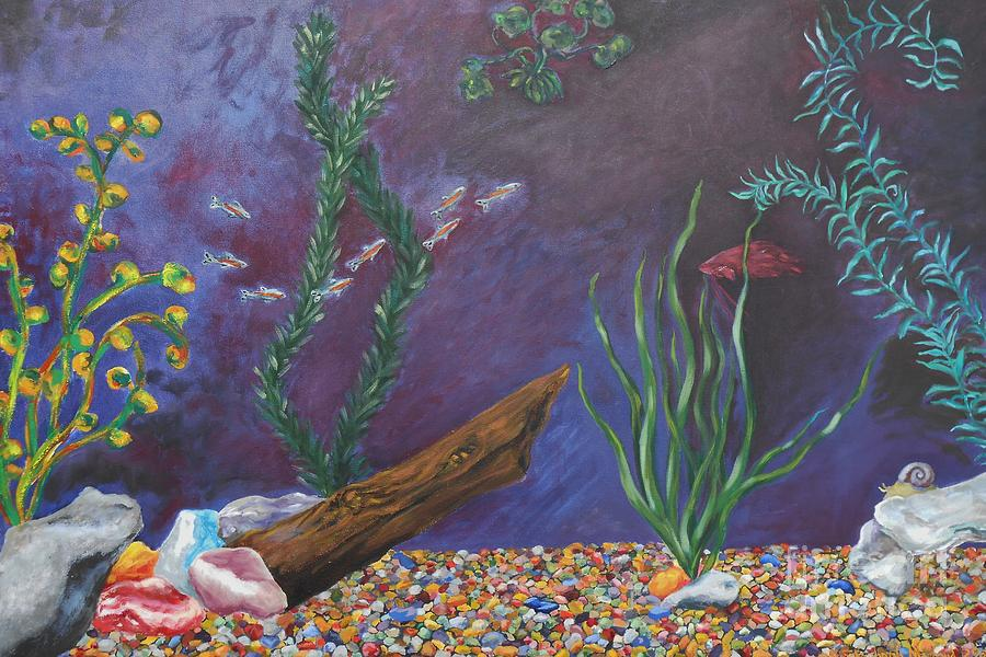 Colorful fish tank cropped painting by emily michaud for Fish tank paint