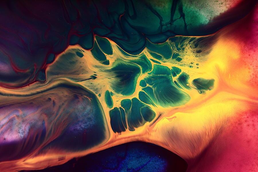 Colorful Fluid Art-wave Of Fire By Kredart Photograph by ...