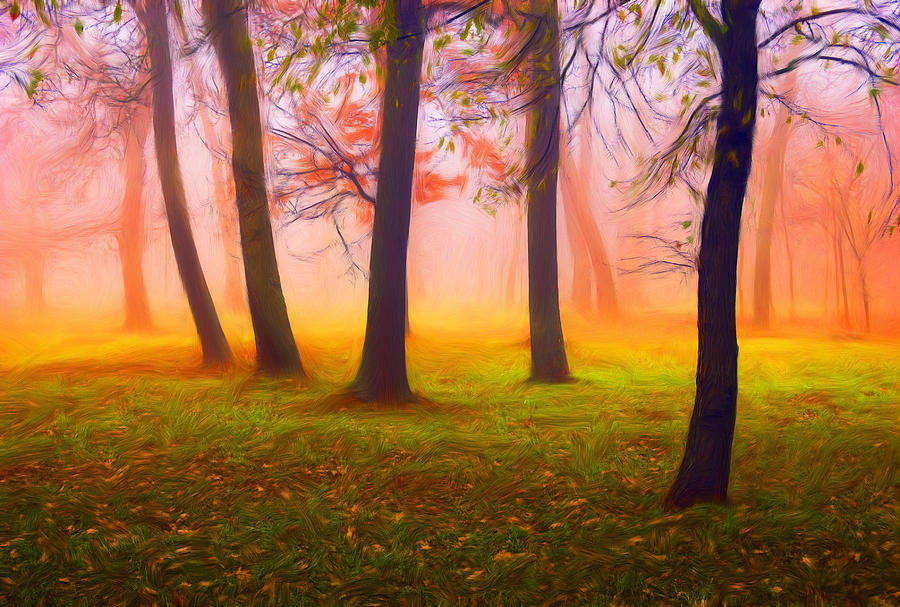 Colorful Forest In The Autumn Painting  - Colorful Forest In The Autumn Fine Art Print
