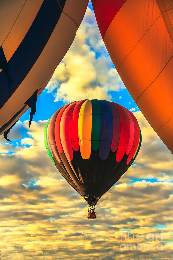 Colorful Framed Hot Air Balloon Photograph  - Colorful Framed Hot Air Balloon Fine Art Print