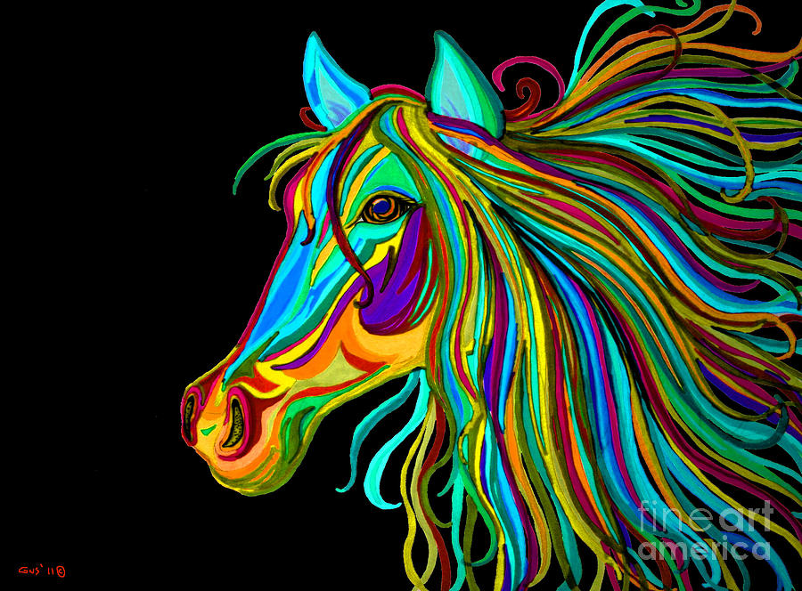 Horse Drawing - Colorful Horse Head 2 by Nick Gustafson