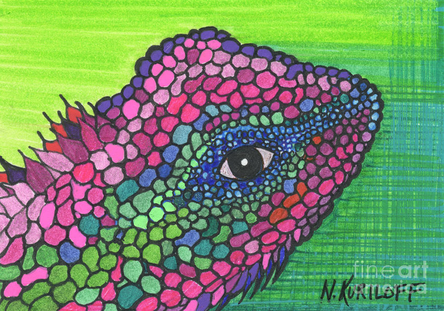 Colorful Imaginary Lizard Drawing - Colorful Imaginary ...