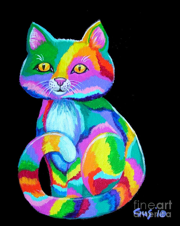 Colorful Kitten Painting  - Colorful Kitten Fine Art Print