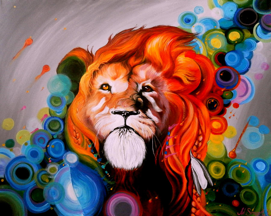 Colorful lion painting - photo#24