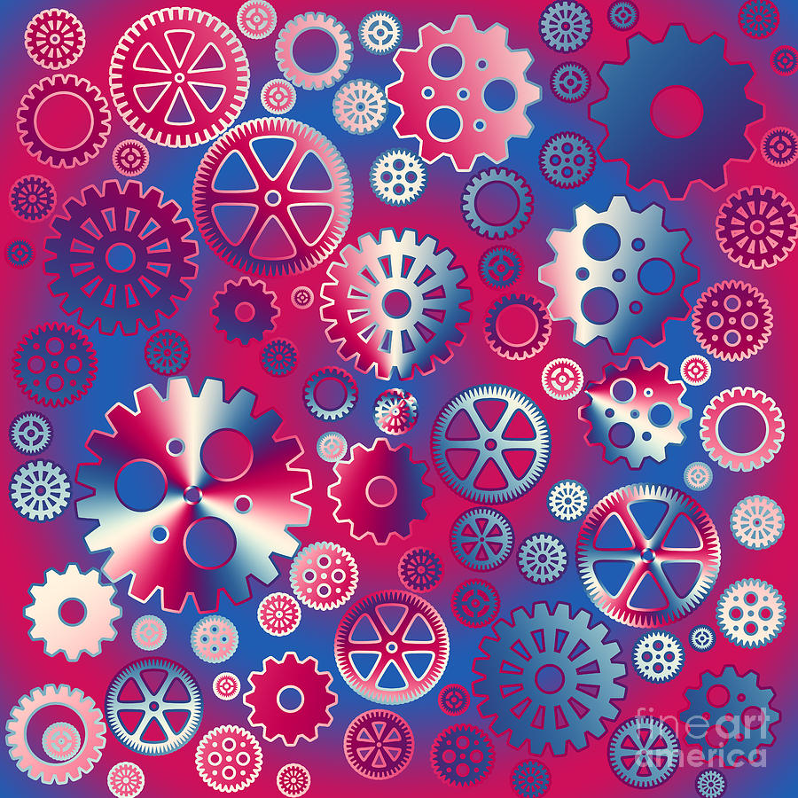 Colorful Metallic Gears Digital Art  - Colorful Metallic Gears Fine Art Print