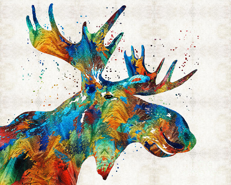 Colorful Moose Art Confetti By Sharon Cummings