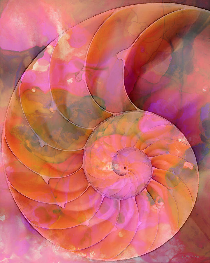Colorful Nautilus Shell By Sharon Cummings Painting