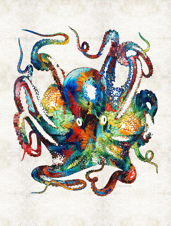 colorful octopus art by sharon cummings painting by sharon