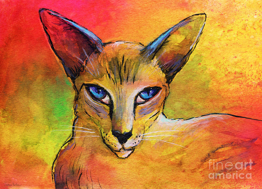 Colorful Oriental Shorthair Cat Painting Painting